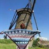 Breipatroon Kinderdijk Shawl Delftsblauw_