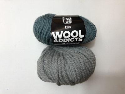 Koperdraadje breipakket, Wooladdicts Fire blauw en grijs